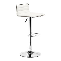 Zuo Modern - Equation Barstool White - Sleek and sexy, the Equation Barstool completes any modern space.  It has a leatherette seat and chrome height adjustable swivel base.