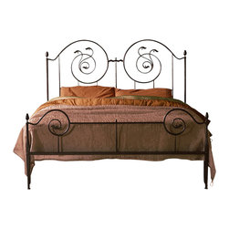 """Caporali - Vertigo Bed by Caporali - Tuscany, Italy, Full Size - 54"""" X 75"""" - Hand forged in the Caporali workshop (Santa Mama, Tuscany, Italy), the Vertigo Bed is signature Caporali - a whimsical yet important design that includes a beautiful headboard and matching foot board reflecting their interpretation of Vertigo sensation. Using one piece of iron to create each of the two circular portions of the headboard, Caporali splices the rod to create two upward facing designs and a third facing down or """"upside down"""" - Vertigo. Simple yet classic finials complete the mortise and tenon construction and design. Since 1885, the Caporali family has been forging iron in Tuscany using the same methods passed down through four generations."""