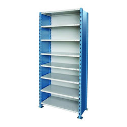 Hallowell - H-Post High Capacity Steel Starter Unit w 8 Shelves (48 W x 24 D x 87 H (347 lbs - Size: 48 W x 24 D x 87 H (347 lbs.). Adjustable shelves. Closed style. Standard foot plate for strong and rigid anchor point. GREENGUARD Children and School certified. Warranty: One year. Made from rolled steel. Platinum and marine blue color. Made in USA. Assembly required. Shelving with 900 lb. shelf capacity:. 48 in. W x 18 in. D x 87 in. H (298.2 lbs.). 48 in. W x 18 in. D x 123 in. H (362.8 lbs.). 48 in. W x 24 in. D x 87 in. H (347 lbs.). 48 in. W x 24 in. D x 123 in. H (419.6 lbs.). Shelving with 1200 lb. shelf capacity:. 36 in. W x 18 in. D x 87 in. H (249.7 lbs.). 36 in. W x 18 in. D x 123 in. H (308.5 lbs.). Shelving with 1250 lb. shelf capacity:. 36 in. W x 24 in. D x 87 in. H (291.3 lbs.). 36 in. W x 24 in. D x 123 in. H (358.1 lbs.)Hallowell high capacity H-post shelving is ideal when additional post strength is required and is recommended for multi-level high-rise applications.