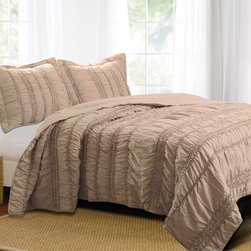 None - Tiana Country Taupe 3-piece Quilt Set - Tuck yourself in with romantic beauty when you place this three-piece quilt set on your bed. Delicate ruching in a soft taupe color adds a beautiful finishing touch to any master bedroom. Two coordinating pillow shams complete this luxurious look.