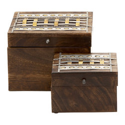 Distinctively Unique Wood Metal Box Set Of 2 - Features: