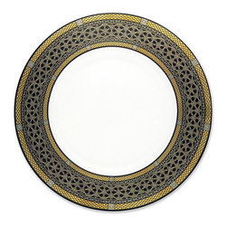 Frontgate - Caskata Hawthorne Black Dinner Plate - Made of flawless bone china. Lavished with precious metals. Hand-decorated with food safe glazes. Dishwasher safe. An intricate geometric layering, the Hawthorne Onyx Serveware depicts many bands of elegantly designed pattern that mimic fine jewelry while hinting at a mysterious and exotic provenance. Rich, semi-matte gold and platinum burst from a field of lustrous black, creating a most luxurious and majestic look.  .  .  .  . Made in the USA.