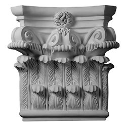 """Ekena Millwork - 25 1/4""""W x 24 5/8""""H x 8 1/4""""P Corinthian Capital - 25 1/4""""W x 24 5/8""""H x 8 1/4""""P Corinthian Capital. Our appliques and onlays are the perfect accent pieces to cabinetry, furniture, fireplace mantels, ceilings, and more. Each pattern is carefully crafted after traditional and historical designs. Each polyurethane piece is easily installed, just like wood pieces, with simple glues and finish nails. Another benefit of polyurethane is it will not rot or crack, and is impervious to insect manifestations. It comes to you factory primed and ready for your paint, faux finish, gel stain, marbleizing and more."""