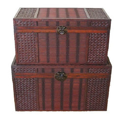 None - Original Hawaii Wood Trunk with Decorative Wicker (Set of 2) - These beautiful wood trunks feature old fashioned hardware for an antique look. These decorative treasure chests are great for coffee table, end table, storage and decoration.