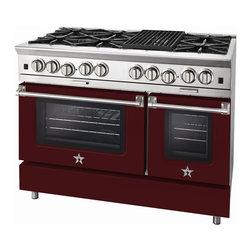 "BlueStar Platinum Series: 48"" Range - 48"" BlueStar Platinum Range in Wine Red (RAL 3005)"