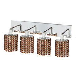 "PWG Lighting / Lighting By Pecaso - Wiatt 4-Light 26"" Crystal Vanity Fixture 1092W-O-E-TO-SS - Whether shown individually or as a collection, our Mini Crystal Chandeliers are stunning in any fashion. This stylish collection offers stunning crystal in a range of colorful options to suit every decor."