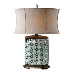 Uttermost - Uttermost Rosignano Crackled Blue Table Lamp - 27475-1 - Uttermost Rosignano Crackled Blue Table Lamp - 27475-1