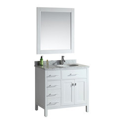 """DESIGN ELEMENT - London 36"""" Single Sink Vanity Set - Drawers on the Left, White - The London 36"""" Single Sink Vanity Cabinet Set is constructed with quality woods and provides a contemporary design perfect for any bathroom remodel. The ample storage in this free-standing vanity set includes one flip-down shelf, four fully functional drawers and one double door cabinet each accented with brushed nickel hardware. The cabinet itself is available in an espresso or white finish and the set is complete with a carrara white marble counter top and matching framed mirror."""
