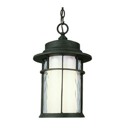 """Trans Globe Lighting - Trans Globe Lighting 5293 RT Opal Chimney 16"""" Hanging Lantern - Mission style double glass outdoor hanging lanterns with clear watered outer glass and opal inner glass framed in single cross bar. Kerosene lantern inspired."""