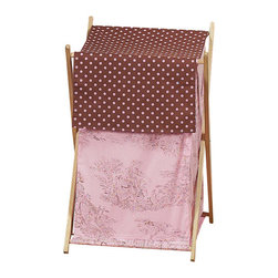 Sweet Jojo Designs - Pink Brown Toile Hamper - The Pink Brown Toile Hamper by Sweet Jojo Designs will add a designers touch to any child's room. This children's laundry clothes hamper has a wooden frame, mesh liner, and a fabric cover. The removable hamper body is secured to the wooden frame with corner loops and Velcro. The wooden stand folds flat for space-saving storage and the removable mesh liner is great for toting laundry.