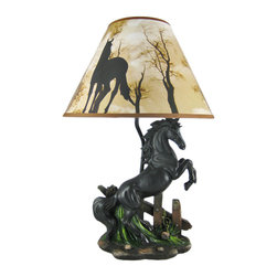 Zeckos - Black Stallion Horse Table Lamp with Nature Print Shade - This awesome table lamp features a rearing black stallion. Measuring 18 1/2 inches tall, including the silhouette horse print 12 inch diameter shade, the lamp is a wonderful decorative accent for horse lovers. It uses regular sized light bulbs up to 60 watts.