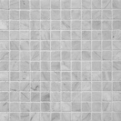 1 in. x 1 in. Bianco White Honed Square Pattern Mesh-Mounted Marble Mosaic Tiles - 1 in. x 1 in. Bianco White Mesh-Mounted Square Pattern Marble Mosaic Tile is a great way to enhance your decor with a traditional aesthetic touch. This Honed Mosaic Tile is constructed from durable, impervious Marble material, comes in a smooth, unglazed finish and is suitable for installation on floors, walls and countertops in commercial and residential spaces such as bathrooms and kitchens.