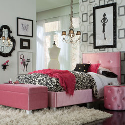Standard Furniture - Standard Furniture Young Parisian 3 Piece Kids' Bedroom Set in Pink - Young Parisian Beds will add alluring Hollywood glamorous styling to youth bedrooms  with their plush fabrics and eye-catching jeweled accents.