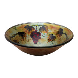 Yosemite Home Decor - Grape Fruit Round Glass Basin - Hand painted merlot grapes on a twisting vine