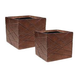 kasamoderndesign - Modern Wood Set of 2 Planter Pots - Modern Wood Set of 2 Planter Pots to use Outdoor or Indoor Home Decoration Patio Garden Lawn