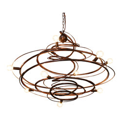 """Bodner Chandeliers - Orion Chandelier, 30""""x30""""x14"""" - This lightweight, hand sculpted spiraling chandelier, has 9 lights which give ambient and decorative lighting. Can be used with incandescent or LED type B, round clear g-16.5 lamps. Made in the USA"""