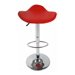 Eurø Style - Fabia Adjustable Bar/Counter Stool in Red and Chrome - Perfectly complemented by a sleek, chrome base, this modern Fabia Adjustable Bar/Counter Stool in Red and Chrome - Eurø Style features a leatherette seat in red color.