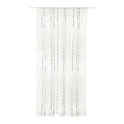 "Vallila Interior - Vallila Interior Shower Curtain - Koivikko White - 71""w x 79""l - Koivikko long bath shower curtain designed by Saara Kurkela for Finnish textile company Vallila Interior. 12 eyelet holes, transluscent curtain rings included. Weighted tread at the bottom; Water repellent material, no liner needed. Machine wash warm; Do not bleach/tumble dry low. Measures: 71""w x 79""l (Note: slightly longer than a standard U.S. shower curtain)"