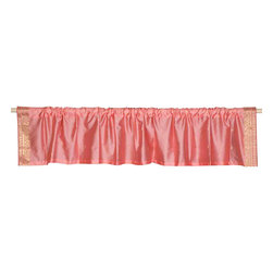 Indian Selections - Pair of Peach Pink Rod Pocket Top It Off Handmade Sari Valance, 43 X 15 In. - Size of each Valance: 43 Inches wide X 15 Inches drop