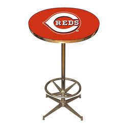 Imperial International - Cincinnati Reds MLB Pub Table - Check out this awesome pub table. It's perfect for your Man Cave, Game Room, Home Bar, or anywhere you want to show love for your favorite team. It has a disco style steel base with leg levelers and foot ring.