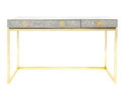 "Jonathan Adler - Jonathan Adler Delphine Desk - The Jonathan Adler Delphine desk captivates with statement-making glamour. Atop a minimalist brass frame, its antique mirrored surface highlights clean lines and functional storage. 54""W x 20""D x 31""H; Polished brass base; Center glide drawer; Robin's egg blue lacquer interior; Quatrefoil accents"