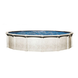 """Blue Wave - Blue Wave Tahitian Round 54 Inch Hybrid Pool - 30 ft - Tahitian 54"""" Deep pool an elegant round 8"""" resin top seat gives the Tahitian the beauty and durability of a resin pool with the strength of steel our highest quality steel pool features an 8"""" resin toprail and a stainless steel equipment panel - style and quality merge together in this beautiful 54"""" Deep steel pool. The Tahitian features a huge 8 """" top rail along with corrosion protection that is unsurpassed by any other pool in America today. If you and your family are looking for the strength of a steel pool with lifetime durability, invest in our top of the line Tahitian. Its premium features include: super-strong steel construction - steel is the strongest material used in above-ground construction. The. The beautiful non-corroding resin 8 """" top rail is injection molded for super strength and is a true round Tahitian uses extra thick gauge steel in its uprights and sidewalls to make this pool rugged and durable. They are backed by a lifetime warranty shape adding a graceful beauty to this pool. Because the top rails are resin, they are softer to sit upon and will not dent like steel top rails. All of these exceptional features are produced with expert craftsmanship resulting in a pool that is not only super strong, but fits together seamlessly with an excellent fit and finish. Corrosion-proof protection - for years pool manufacturers have known that a steel pool is the strongest pool. Unfortunately over time, when exposed to pool chemicals, steel pools have been prone to corrosion. The Tahitian has developed advanced coating techniques that will virtually eliminate corrosion for the life of the pool. The pool wall is protected by a patented plastiguard coating process that ensures that your outer pool wall will never rust. The patented bottom system which contacts the ground (Ice, rain, and snow) will never corrode and is backed by a lifetime warranty. Even if steel pools are coated to protect ag"""