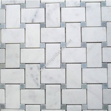 White Carrara Marble Italian Bianco Carrera Basketweave Mosaic Tile with Light B