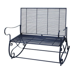 """Benzara - Traditional and Modern Metal Rocker Bench 41""""W, 36""""H Patio Furniture Home Decor - Traditional and modern inspired metal rocker bench 41""""w, 36""""h patio furniture living and family room home accent decor"""