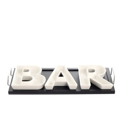 "BAR Serving Dishes w/Tray 13 x 7"" - Set your bar apart with these interesting plates set on a black wooden tray."