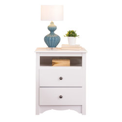 Prepac - Prepac Monterey White Tall 2-Drawer Night Stand - Prepac - Nightstands - WDC2428 - The versatile Monterey Tall Night Stand features two full sized drawers, moldings, and a scalloped apron or kick plate. An upper storage shelf adds increased practicality. Reminiscent of Shaker or Mission styles, it will be the perfect addition to a bedroom with a country, contemporary or traditional decor.