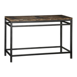HomeStyles - Console Table in Petrified Wood - Dimensions:47 W x 15/31 D x 29 H in.. 73 lbs. . Includes book matching in the center of the table. Two utility drawers. Surrounded by resin with small chips of petrified wood. Surrounded by tiles of petrified wood. Made from metal and petrified wood. Pertified wood finish. Minimal assembly required. 47.25 in. W x 17.75 in. D x 30 in. HIm Petrified! Generate interest in your home with this conversation piece. Created from petrified wood, the Home Styles Turn to Stone Console Table has been repurposed for your one of a kind side table. Each table is different and can be seen through the different techniques taken to achieve such masterpiece. Natural radiant elements applied to a transitional home decor appeal, this table is inimitable.