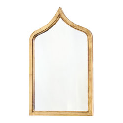 Kathy Kuo Home - Putrajaya Global Bazaar Gold Frame Wall Mirror - Short - Exotic and elegant, this slightly distressed, gold-framed wall mirror reflects an adventurous spirit. The slim silhouette enlarges even the narrowest space. Evoking ancient architecture, this impressive piece adds Old World charm your palace.