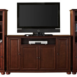 "Crosley - Alexandria 60"" TV Stand and Two 60"" Audio Piers - Dimensions:  Audio Tower: 57"" H x 18"" W x 24"" D"