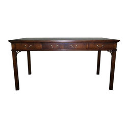 Pre-owned Chippendale Style Desk - This desk was custom made by the legendary Antonio Ercotino for a client who lived in a penthouse in San Francisco. It is a beautiful desk, well sized for a small den or office. The wood and craftsmanship are excellent.  There are two small spots on the top of the table.