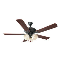 DHI-Corp - Trevie 52-inch 3-Light 5-Blade Ceiling Fan, Dark Mahogany or Bleached Oak Blades - The Design House 154120 Trevie 52-Inch 3-Light 5-Blade Ceiling Fan features an oil rubbed bronze finish and antique alabaster glass shades . Use the pull chain to control your 3-speed motor and toggle between three different speed settings. The (5) fan blades have a dark mahogany finish on one side and a bleached oak finish on the other. Choose between close-up, 4-inch downrod or vaulted mount for angled ceilings. Run the motor in reverse to help conserve energy costs during all seasons. Blades can be run on the normal setting during the summer to create cooling air flow and on reverse in the winter to re-circulate warm air from the ceiling. This fan is UL listed, rated for 120-volts and features (3) 60-wattcandelabra base incandescent lamps. Measuring 52-inches, this fixture adds a dramatic accent to any home or condominium. Coordinate your home with the rest of the Trevie collection, which features a beautiful matching pendant, chandelier, vanity and ceiling mount. The Design House 154120 Trevie 52-Inch 3-Light 5-Blade Ceiling Fan comes with a 10-year limited warranty that protects against defects in materials and workmanship. Design House offers products in multiple home decor Categories including lighting, ceiling fans, hardware and plumbing products. With years of hands-on experience, Design House understands every aspect of the home decor industry, and devotes itself to providing quality products across the home decor spectrum. Providing value to their customers, Design House uses industry leading merchandising solutions and innovative programs. Design House is committed to providing high quality products for your home improvement projects.