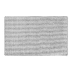"None - Xavier Stripe Platinum Grey Bath Rug (30"" x 50"") - Enjoy the plush feel of the Xavier Stripe bath and spa collection while adding a classic note of design and color. The grey rug is created from durable, machine-washable nylon with non-skid latex backing for safety."