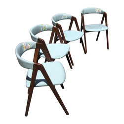 """Used Mid-century Blue Dining Chairs - Set of 4 - A set of four Mid-century Modern chairs covered in a happy, hand-printed fabric. The chairs were originally imported from Denmark, and have very minimal wear to the wood.     They've been recently reupholstered in durable aqua blue Sunbrella fabric to be both sunlight and water resistant. The illustrative print was hand-screenprinted in several colors, using 16 frames, and each chair is slightly different. The ink is eco-friendly, non-solvent and fabric rated from Australia.     Read more about the reupholstery process on seller Meg O'Halloran's """"En Route Studio"""" website at www.enroutestudio.com."""