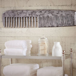 Antique Silver Medal Comb Wall Art - With perfectly balanced lines, our oversized vintage-style comb adds charm and retro character to a bathroom wall.