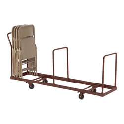 National Public Seating - National Public Seating Folding Chair Dolly Vertical storage in Brown - Safely store and move folding chairs with the National Public Seating Dolly for Folding Chairs. Simply place chairs on the sturdy steel dolly - no more reaching or straining to stack chairs above your head. Three handles, one at each end and one in the middle, make it easy to move the dolly around corners. For use with National Public Seating folding chairs. Holds up to 35 chairs. The optional Under Stage Conversion Kit lets you stack chairs on their side so they'll store neatly beneath your stage.