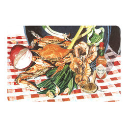 Caroline's Treasures - Crab Boil Kitchen Or Bath Mat 20X30 - Kitchen or Bath COMFORT FLOOR MAT This mat is 20 inch by 30 inch.  Comfort Mat / Carpet / Rug that is Made and Printed in the USA. A foam cushion is attached to the bottom of the mat for comfort when standing. The mat has been permenantly dyed for moderate traffic. Durable and fade resistant. The back of the mat is rubber backed to keep the mat from slipping on a smooth floor. Use pressure and water from garden hose or power washer to clean the mat.  Vacuuming only with the hard wood floor setting, as to not pull up the knap of the felt.   Avoid soap or cleaner that produces suds when cleaning.  It will be difficult to get the suds out of the mat.
