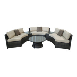 Pier Surplus - 6pc All Weather Curved Conversation Set w/ Side Table & Coffee Table #PF80954 - This set is made from all-weather resin wicker, which will not fade, shrink, loose its strength or snap. It also has high resistance against sunlight and water. It has been improved to withstand North American weather.