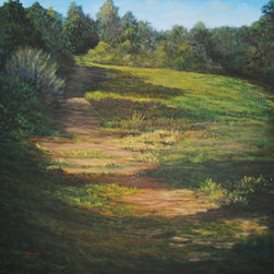 "Original Landscape Painting On Canvas (Field #2) - This original 40"" x40"" landscape acrylic painting on stretched canvas is professionally framed and ready to hang as the dramatic focal point in your living space. The total framed size is 44""x44""."