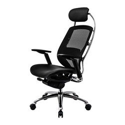 At the Office - 1 Series High Back Chair with Headrest - Take control of your comfort when you work. This office chair allows you to adjust the lumbar support and seat depth, as well as the armrests and the headrest. You can even recline without major seat movement.