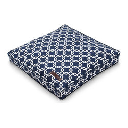 """Marine Pet Pillow - 25"""" - Bold lattice patterns in indigo and bone offer a classic geometry well-suited to the transitional home. Allowing your pet's seating to coordinate with your own for effortless animal-friendly chic, the Marine Pet Pillow is made with a smooth, easy-care cotton cover in a nautical two-tone color scheme, while its piped border gives a neat finish to the rectangular floor cushion."""