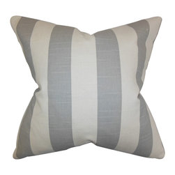 The Pillow Collection - Acantha Stripes Pillow Gray - Lend texture and dimension to your home with this throw pillow. This accent pillow features a classic stripe pattern in shades of white and gray. Decorate your sofa, bed or seat with a few pieces of this indoor pillow. Combine with solids and other patterns for a contemporary look. Made of 100% soft cotton fabric.