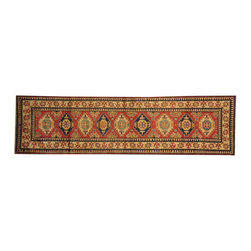 1800-Get-A-Rug - Tribal Design Kazak Oriental Rug Runner Hand Knotted 100% Wool Sh16568 - Our Tribal & Geometric hand knotted rug collection, consists of classic rugs woven with geometric patterns based on traditional tribal motifs. You will find Kazak rugs and flat-woven Kilims with centuries-old classic Turkish, Persian, Caucasian and Armenian patterns. The collection also includes the antique, finely-woven Serapi Heriz, the Mamluk Afghan, and the traditional village Persian rug.