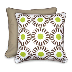 Olli and Lime - Green and Brown Bloom Accent Pillow - Adding a big accent pillow to a bed or rocking chair is the perfect way to introduce a touch of color. The lime green is so vibrant and the pattern is fun and happy. And the cover even comes with its own insert, so it's ready to relax with.