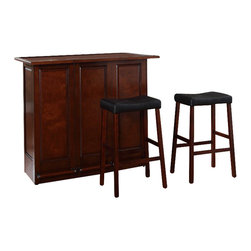 "Crosley Furniture - Crosley Mobile Folding Bar in Vintage Mahogany with 29"" Saddle Stool - Crosley Furniture - Home Bars - KF400034MA"