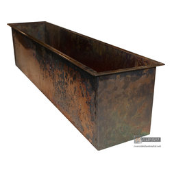 Burnished copper planters custom fabricated - Burnished copper planters custom fabricated.