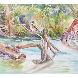 """First Spring"" (Original) by Gail Dolphin - This was created after a boat trip in Crystal River, Florida.  I saw so many birds and animals that I imagined this scene along the river banks.  The original watercolor is framed in tan matting with an inner accent of aqua.  It is framed in a rustic walnut tone frame with glass."